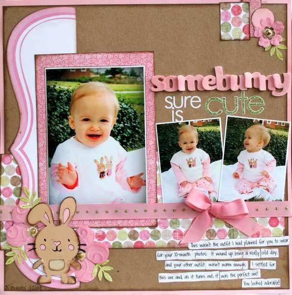 somebunnyScrapbook Ideas For Girls, Baby Scrapbook Pages, Baby Girls Scrapbook Layout, Little Girls, Scrapbook Pages Layout, Scrapbook Easter, Easter Layout, Scrapbook Baby, Baby Girls Scrapbook Ideas