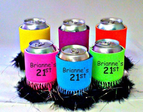Personalized 21st Birthday Can Cover Koozies in bright colors and boa fluffs for all the guest at the 21st Birthday Party.