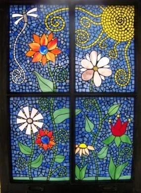 'Funky flowers' mosaic window ~ by Meaco's Art Garden, via Flickr