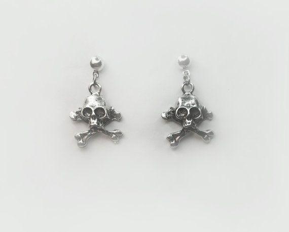Casual Silver Skull Earrings