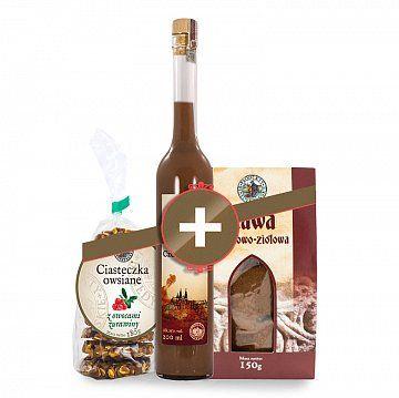 Zestaw do kawy - Produkty Benedyktyńskie    W skład zestawu wchodzą:    1) Likier czekoladowy 25% 200 ml    Ten wyjątkowy trunek został sporządzony tylko z naturalnych składników.    Likier stworzony z wysokog...