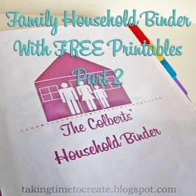 Taking Time To Create: The Household Binder {Part 2} Finances, Activities, and Health & Fitness