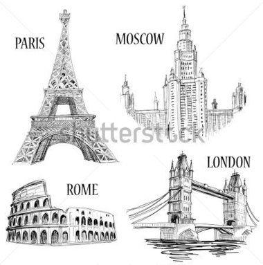 Dibujo de símbolos de ciudades europeas: París (Torre