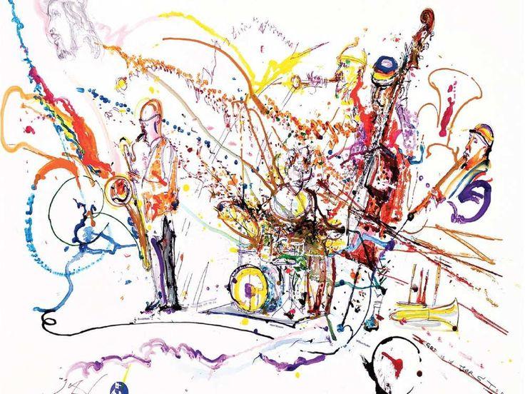 Questo dipinto da Jeff Schlanger è stato ispirato dalla performance inaugurale del Sonoluminescenza Trio e creato in tempo reale con la musica.