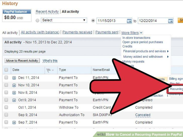 How to cancel a recurring payment in paypal payment