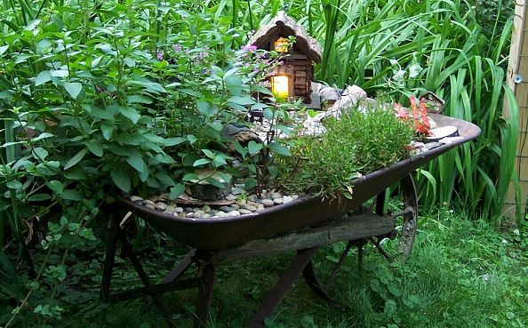 Wheelbarrow Fairy Garden  #FairyGarden, #Miniature, #Wheelbarrow