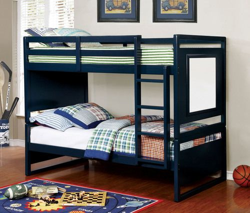 Shop the Furniture of America BK901 Pasadena Twin Bunk Bed available in blue and dark walnut. Great deal on twin wood bunk bed with optional trundle and Free Shipping.