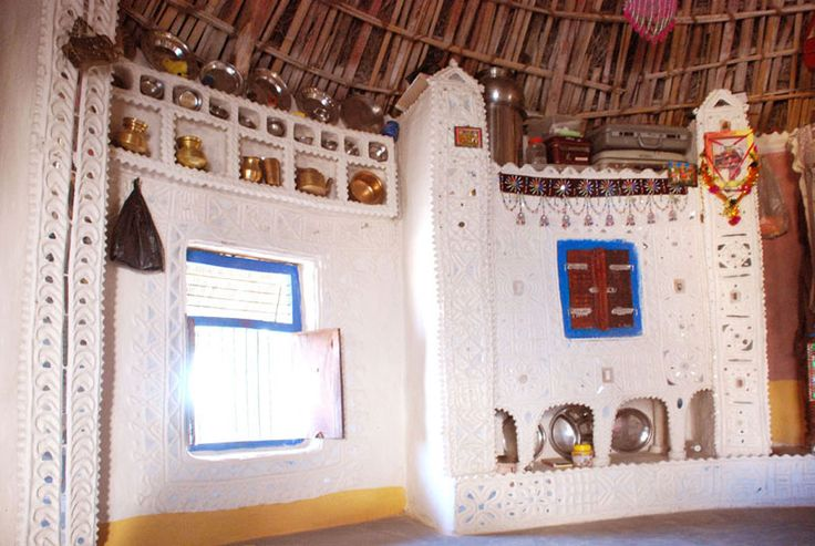 interior of a bhunga roundhouse kutch region gujarat india mud and mirror work also adorns. Black Bedroom Furniture Sets. Home Design Ideas