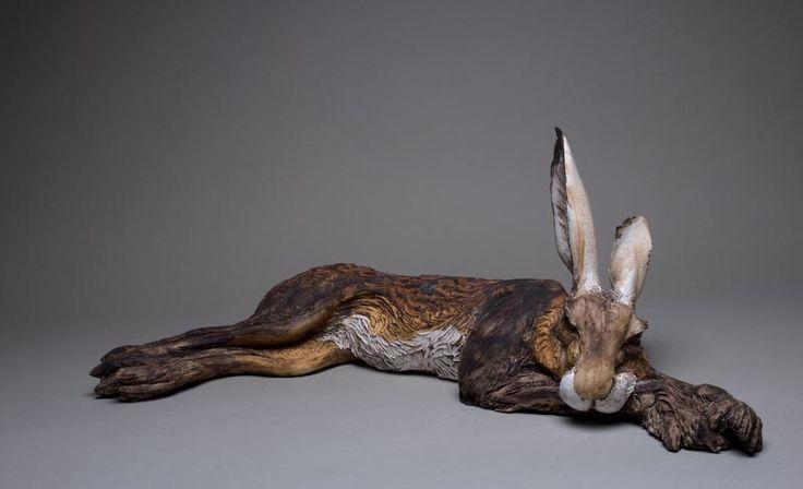 Large sleeping havergate hare (ceramic) by Jeremy James