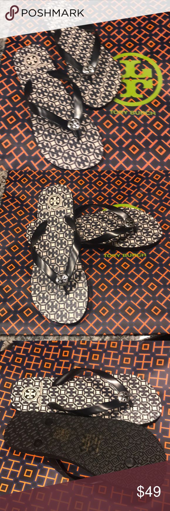 Tory Burch flip flops Brand new, tags attached TORY BURCH FLIP FLOPS in ladies size 8. It is the most beautiful design with silver hardware, grab it at this great price... Tory Burch Shoes Slippers