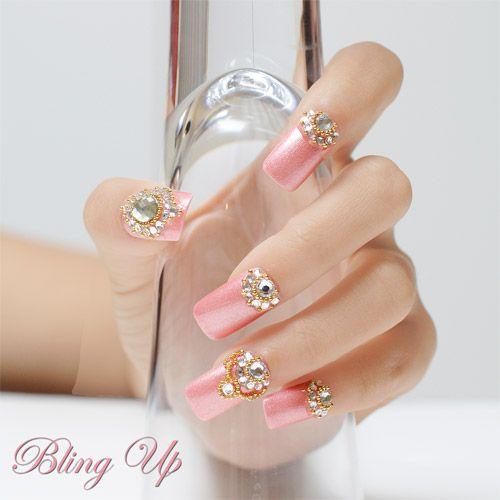 Swarovski crystal rhinestone for nails pink nail art for Unas con piedras swarovski