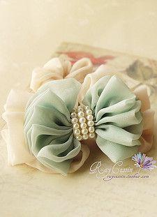 Ray pedidos de exportación personalizados gasa doble arco de perlas pelo banda / cabeza de la flor / accesorios para el cabello
