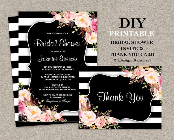 floral black and white stripe bridal shower invitation