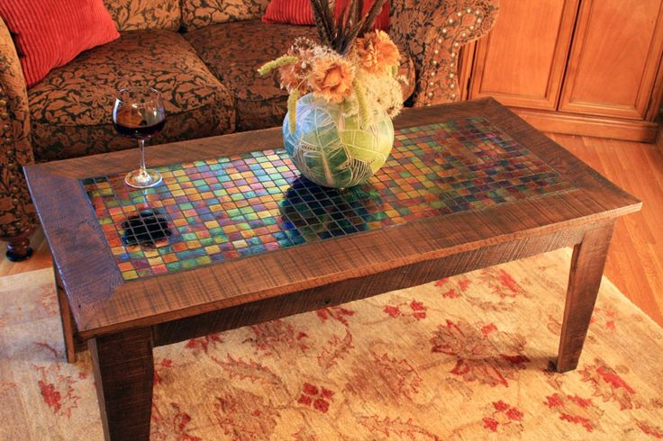 """Large Coffee Table with Irridescent Glass Tile Inlay, Rustic Contemporary, Java Finish - """"The Starry Night"""" - Handmade. $590.00, via Etsy."""