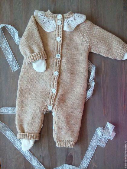 Одежда ручной работы. Заказать Комбинезон для новорожденного. Оксана (mamma_knit). Ярмарка Мастеров. Одежда на выписку, вязание на заказ, Мериносовая шерсть
