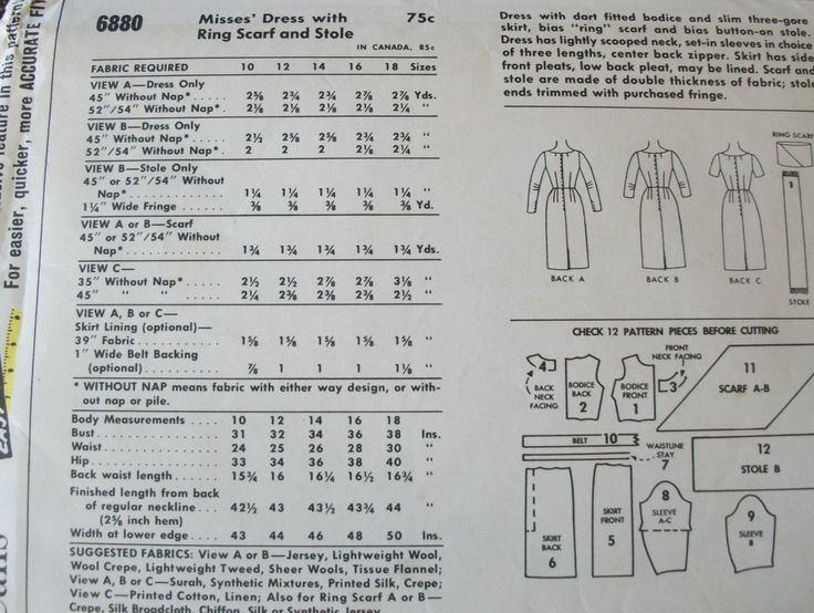 This pattern is CUT but complete with instructions.    SIZE 12  BUST 32  WAIST 25  HIP 33    Pattern makes dress with dart fitted bodice and slim three-gore skirt, bias ring scarf and bias button on stole. Dress has lightly scooped neck, set in sleeves in choice of three lengths, center back zipper. Skirt has side front pleats, low back pleat, may be lined. Scarf and stole are made of double thickness of fabric; stole ends trimmed with purchased fringe.