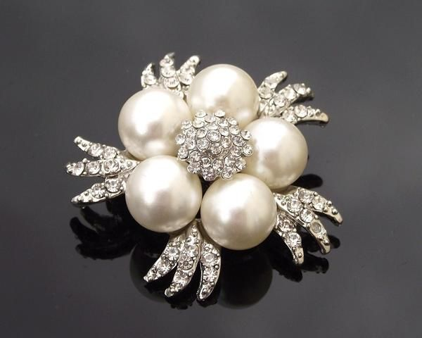 Wedding Brooches - Ivory Pearl Cluster Brooch Pin, Helene