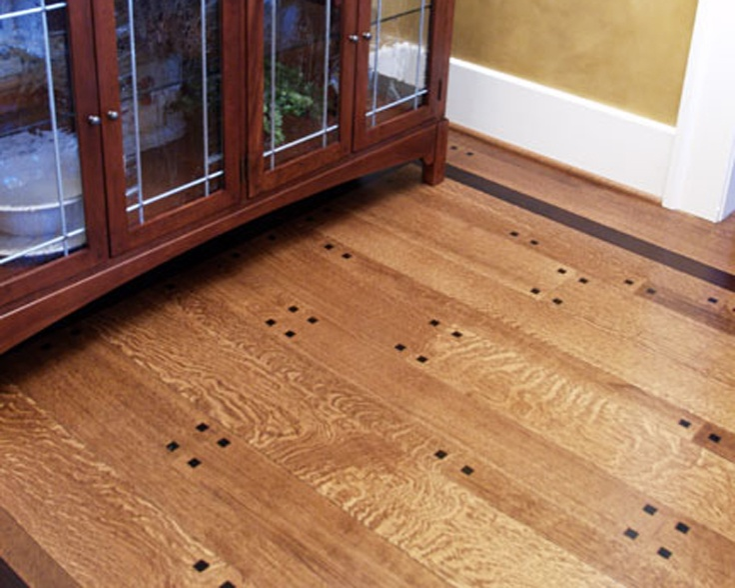 Quarter Sawn White Oak Random Width Plank Floor With Black