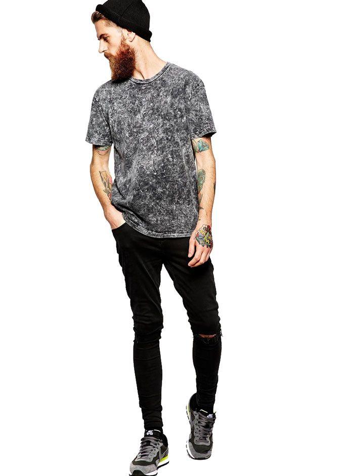Yıkamalı Siyah Erkek Tişört MC09280914196