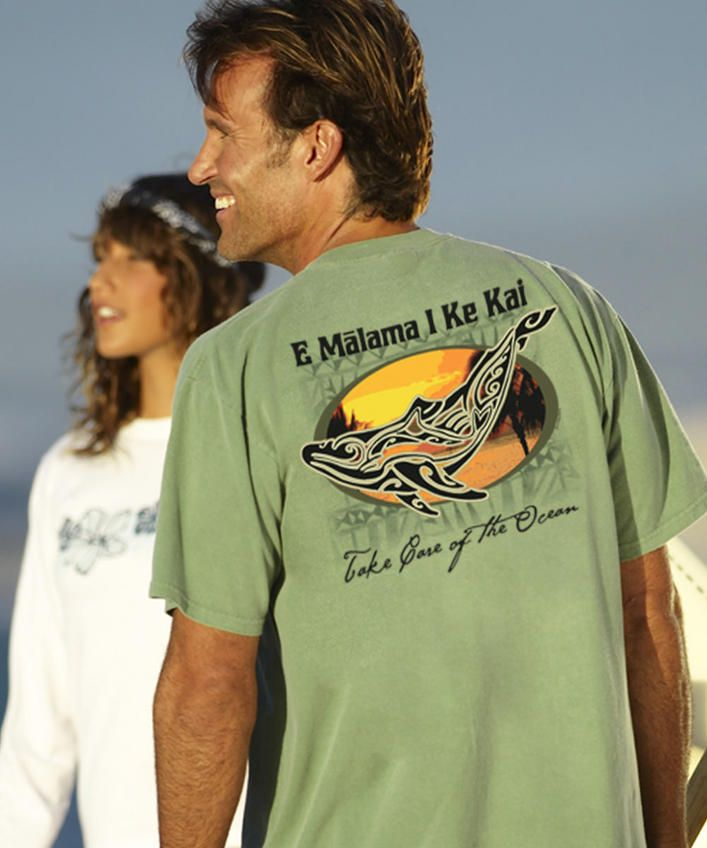 Paradise Whale - Ti Leaf-Dyed Crew Neck T-Shirt