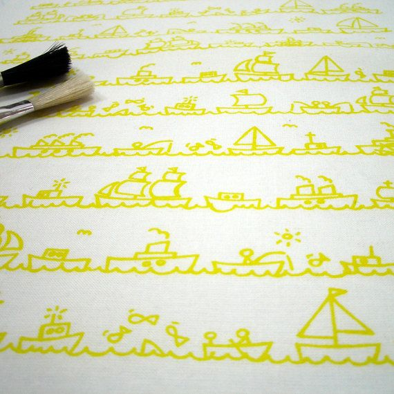 I Saw Some Ships A-Sailing - hand screen printed skinny quarter -  Acid Yellow on White on Etsy, £5.14