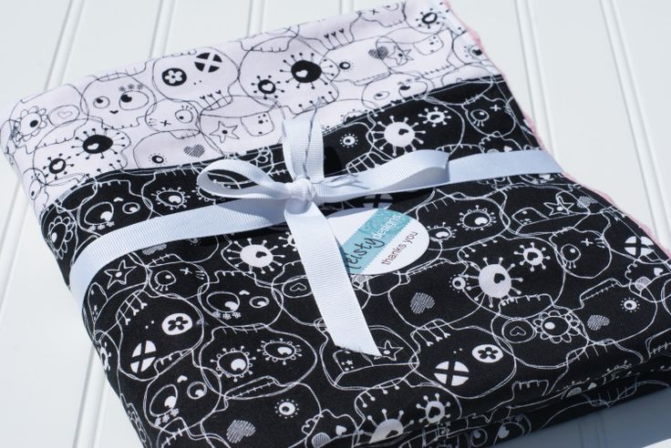 Skulls Black&White with Pink Minky  28x34 by feistymamadesigns, $34.00
