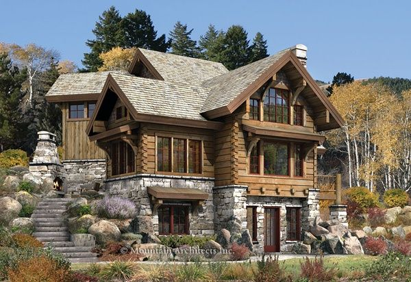 Gorgeous stone  log house. (Check out the fireplace at the top of the curved stairs.)