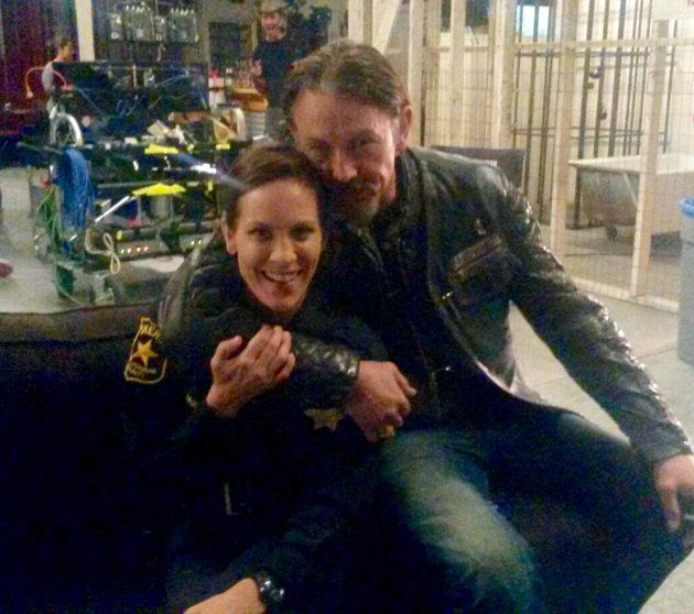 Annabeth Gish and Tommy Flanagan on the set of 'Sons of Anarchy'
