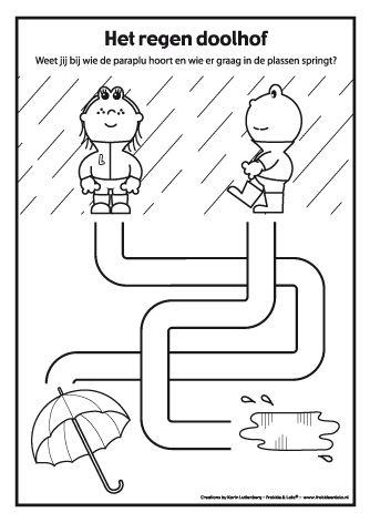 Regendoolhof met Frokkie en LolaWeet jij bij wie de paraplu hoort en wie er graag in de plassen springt