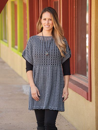 This figure-flattering openwork pattern and split sleeves make this design perfect for today's fashions. Made using 1,460 (1,710, 1,960, 2,470, 2,528, 2,686, 2,844, 3,002, 3,160, 3,318) yds of Universal Yarn Bamboo Pop in the color Graphite. Sizes ar...