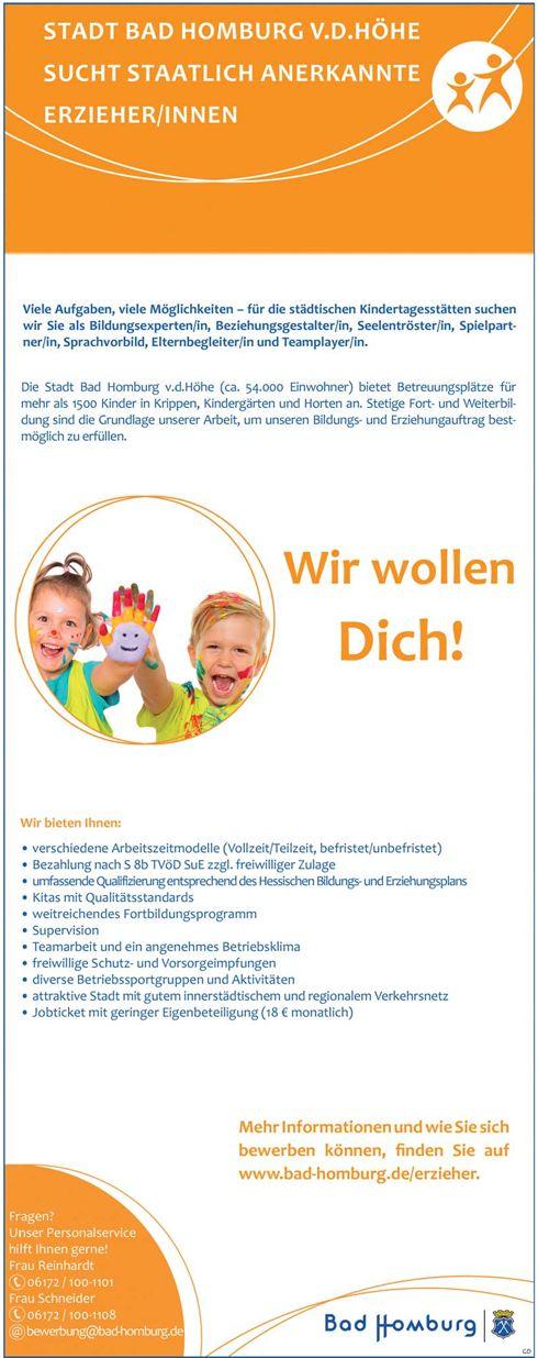 Stellenbezeichnung:  Staatlich anerkannte Erzieherinnen / Erzieher    Arbeitsort:  61348, Bad Homburg v.d.Höhe    Hessen  Deutschland    Weitere Informationen unter:  https://www.stellencompass.de/anzeige/139539/