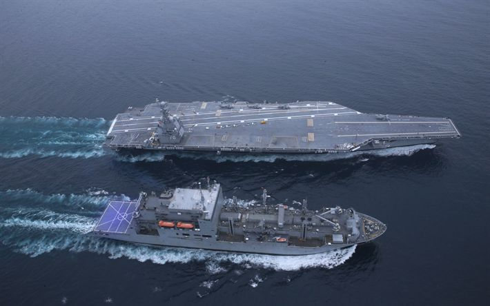 Download wallpapers aircraft carrier, USS Gerald R Ford, CVN-78, warships, nuclear aircraft carrier, US Navy