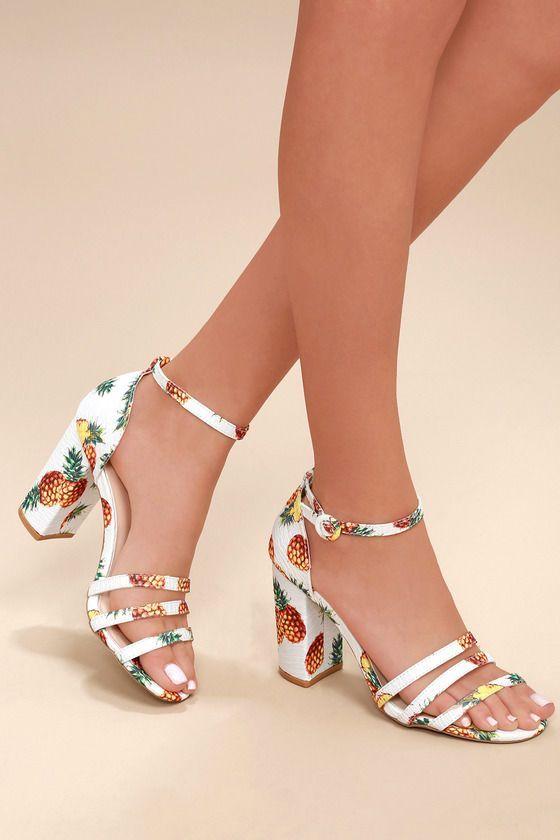 63475698ad915 Jadey White Multi Pineapple Print Ankle Strap Heels 1 | Ankle straps ...