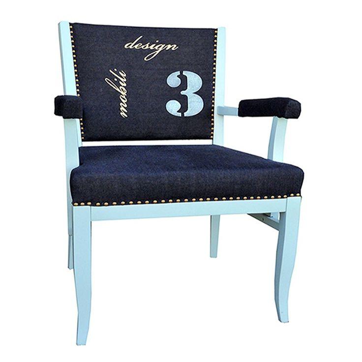 Design alter Sessel .MassivholzBezogen mit einem edlem Jeansstoff Farbe: Jeans Design ,Gold ,Türkis Jeder Sessel ein Unikat