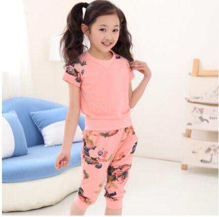 4 - 14 лет дети в костюм девочки одежда комплект дети цветы t - рубашка + шорты брюки комикс одежда спорт костюм