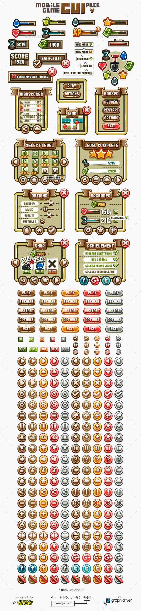 Mobile Game GUI Template Transparent PNG, JPG Image, Vector EPS, AI Illustrator. Download here: http://graphicriver.net/item/mobile-game-gui-pack-5/15504102?ref=ksioks