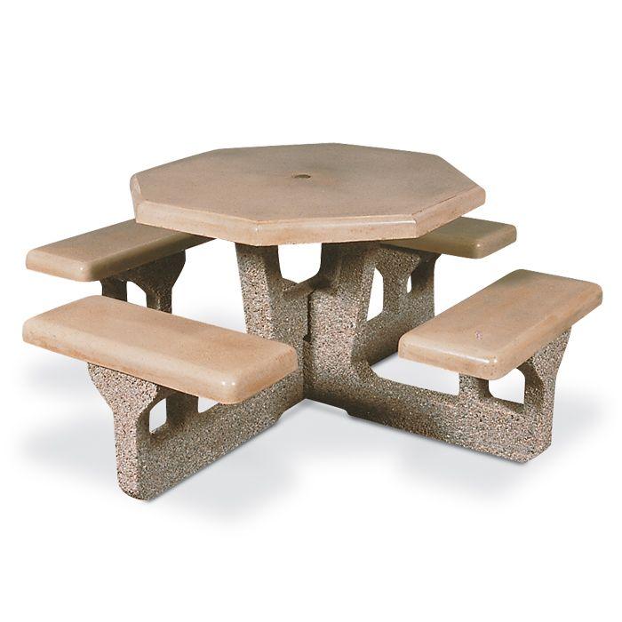 Octagonal Concrete Picnic Table   Picnic Tables   Upbeat.com