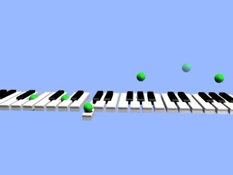 Scott Joplin-Maple Leaf Rag.  Bouncing balls show which keys are pressed.  Kids love it!