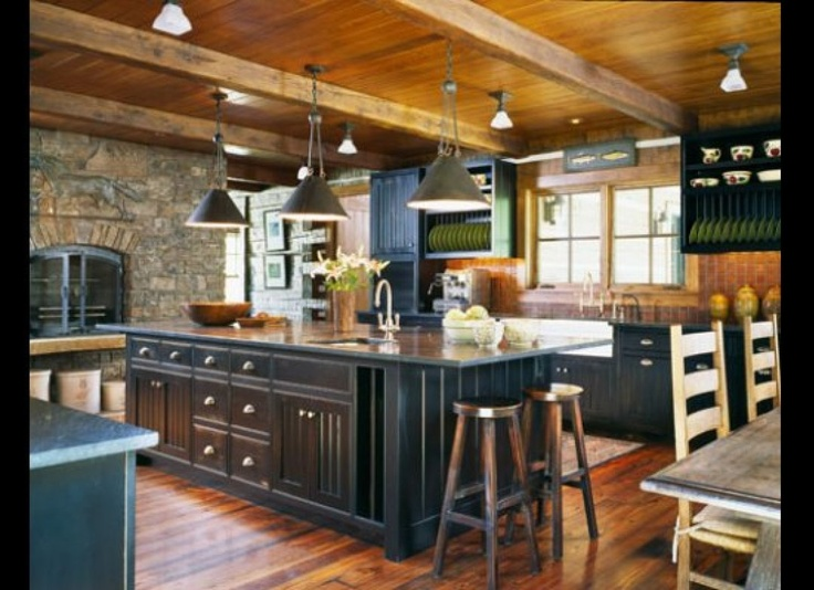 painted black cabinets: Stones Fireplaces, Cottages Kitchens, Dreams Kitchens, Black Cabinets, Kitchens Ideas, Rustic Kitchens, Black Kitchens, Islands, House