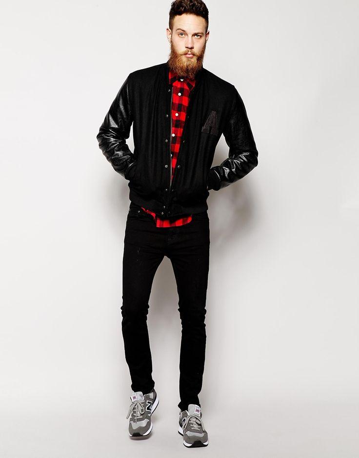 赤黒フランネル,チェックシャツ,ブラックスキニーパンツ,メンズコーデ