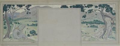 Παρθένης Κωνσταντίνος (1878/1879 - 1967) Ύμνος στην αυγή, 1918 - 1919 Λάδι και μολύβι σε καμβά , 20 x 60 εκ. Δωρεά Σοφίας Παρθένη , Αρ. έργου: Π.6496