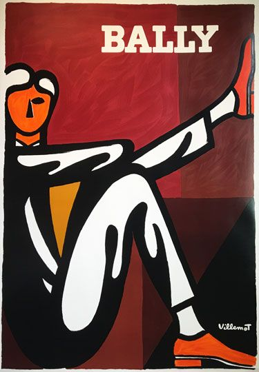 Bally (Homme) original poster by Bernard Villemot from 1976. French poster features a man siting down with one leg up against orange and brown background.