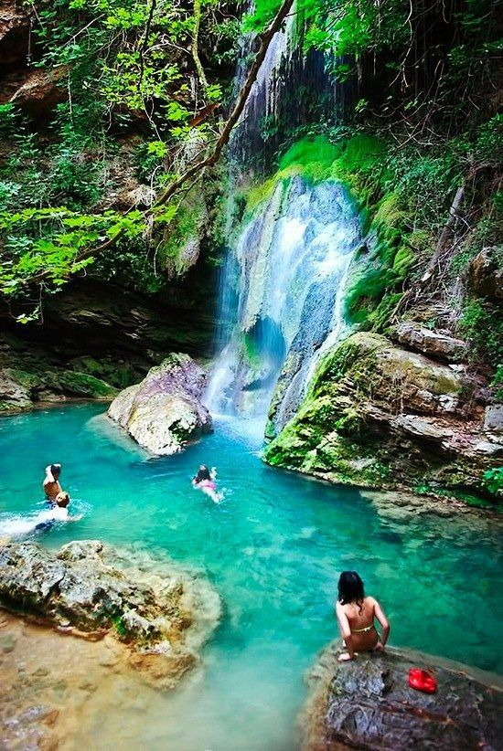 Fonissa Waterfalls, Kythira Island, Greece #world #places #travel #greece #trips #journey #europe #island #kythira #fonissawaterfalls