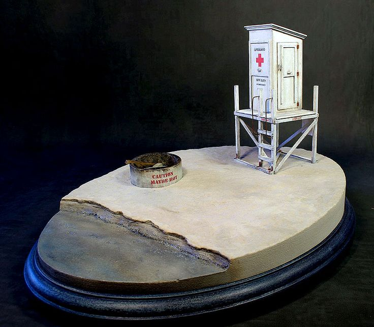 1/32 scale laser cut Lifeguard tower model kit on a sculpted base