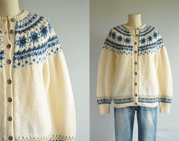 Vintage Nordic Wool Fair Isle Cardigan / 70s Hand Knit Sweater Cream Blue   BREI-idee