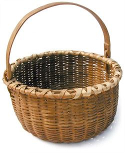 "Bushwhacker or Taghkanic basket : ""Legend of the Bushwhacker Basket"": The Bushwhackers were native to a small area of New York state and their baskets were often confused with Shaker work. Their work is distinctive though and includes details not found in other baskets."