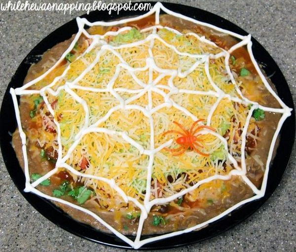 While He Was Napping October Spooktacular Spiderweb Nachos
