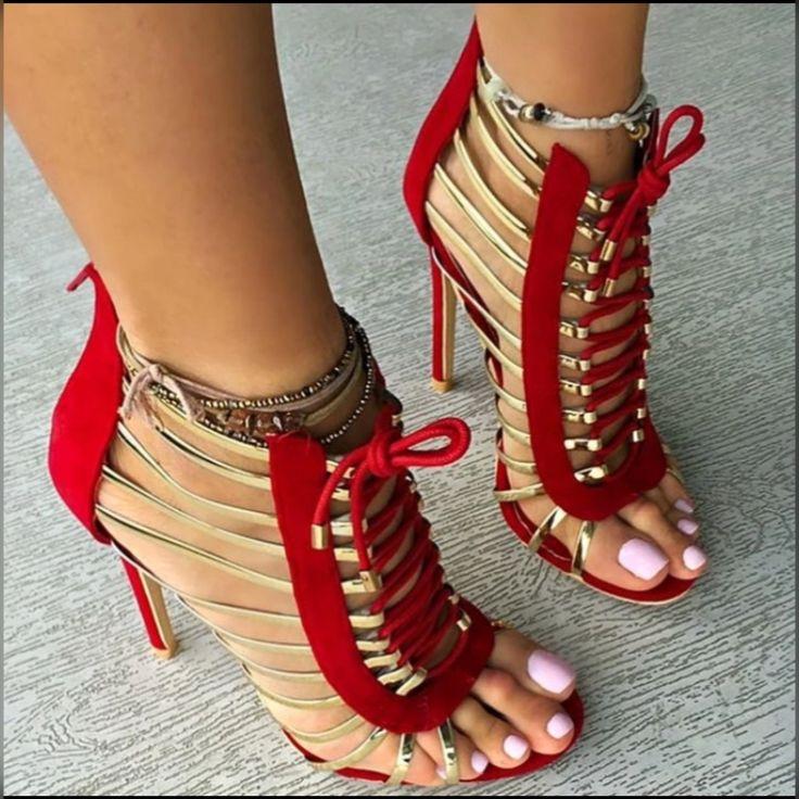 Hari Deals - Zapatos de tacón para chico , color Rojo, talla 42 2/3 EU