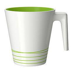 HURRIG Becher, grün, weiß Höhe: 9.5 cm Inhalt: 25 cl