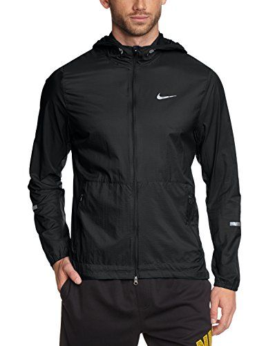 NIKE Hurricane Men's Running Jacket, Black, M. Lightweight water-repellent  nylon fabric helps keep you dry and protected in rain without holding you  back.